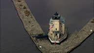 Rondout Creek Leading Light - Aerial View - New York,  Ulster County,  United States video