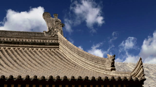 Roof decorations on the territory Giant Wild Goose Pagoda, is a Buddhist pagoda located in southern Xian (Sian, Xi'an), Shaanxi province, China video