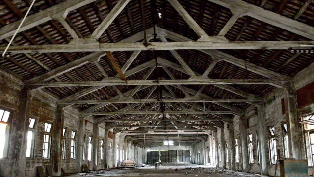 roof of an empty industrial loft in an architectural background video