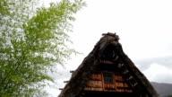 roof of Gassho-zukuri a shirakawago have a windstorm, Gassho Farmhouse video