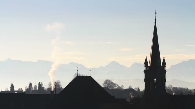HD: Roofs and chimneys in Bern, backlight video