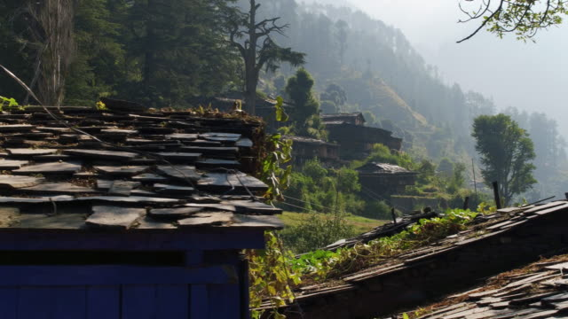 Roofs of the old village in the Himalayas video