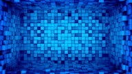 Room of blue cubes extruding. Seamless loop 3D animation video