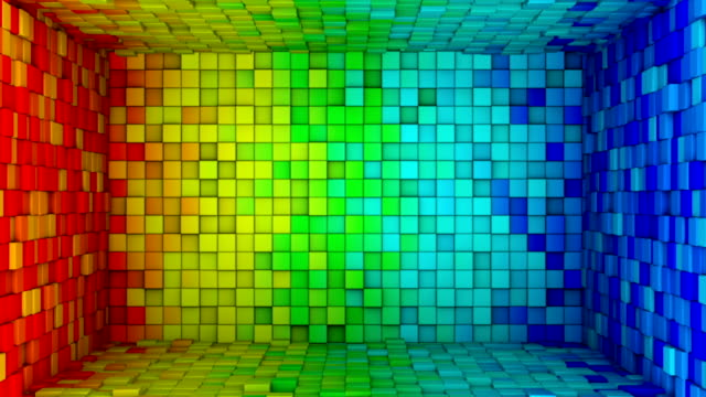 Room of colorful cubes extruding. Seamless loop 3D animation video