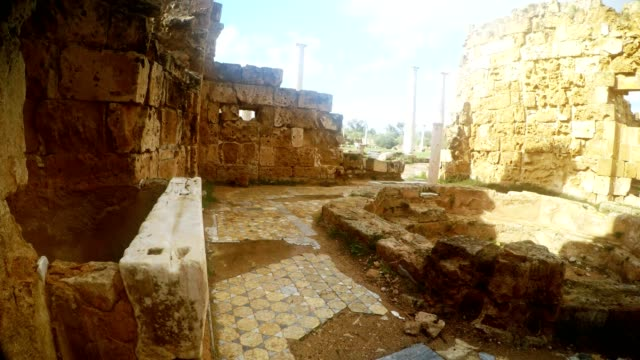 Room of Roman baths with pool far columns anciant  town Salamis east Cyprus Famagusta video
