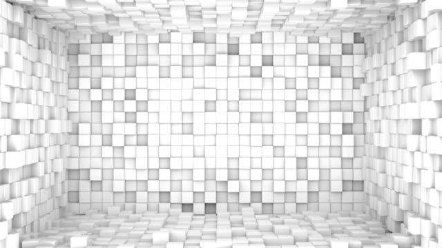 Room of white cubes extruding. Seamless loop 3D animation video