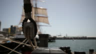 Ropes on the tall sailing ship vessel video