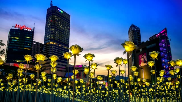 LED roses flower garden at Dongdaemun Design Plaza (DDP). video
