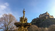 Ross fountain landmark in Pinces Street Gardens. Edinburgh, video