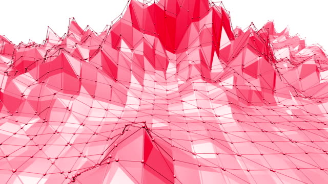 Rosy or pink low poly oscillating surface as crystal grid. Polygonal mosaic red vibrating environment or pulsating background in cartoon low poly popular modern stylish 3D design. Free space video