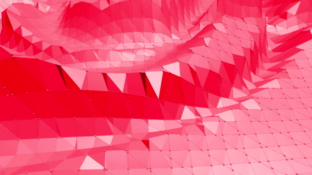 Rosy or pink low poly surface as landscape or cyberspace. Polygonal digital mosaic red environment or background in cartoon low poly popular modern stylish 3D design. video