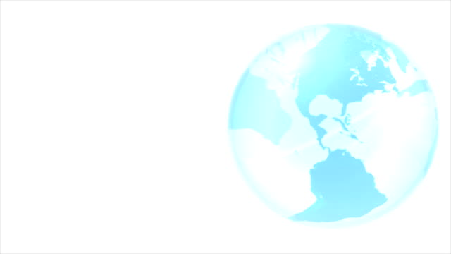 Rotating 3D rendered glass globe on white background. video