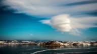 Rotating cloud above freeze lake video