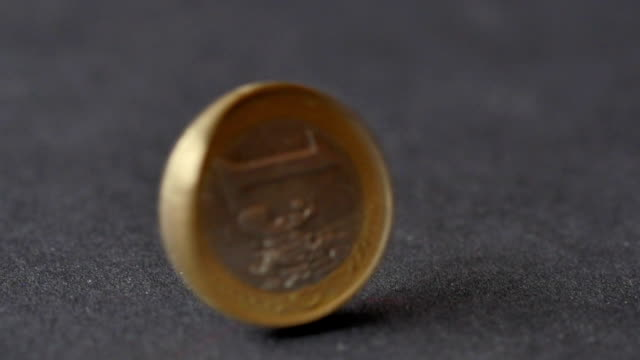 Rotating Coin Of One Euros With Letter Side video