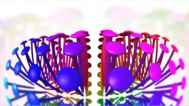 Rotating colored pinheads wide angle video