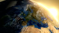 Rotating Earth from Space. Sunrise image above Europe. video