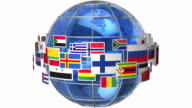 Rotating Earth globe with world flags video