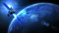 Rotating Earth with satellite, blue. Close up. Loopable. video
