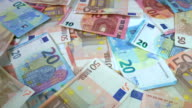 Rotating Euro banknotes video