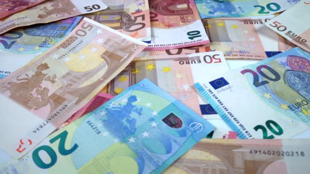 Rotating Euro banknotes video