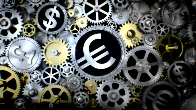 Rotating Euro currency in gear unit with various currency sign. video