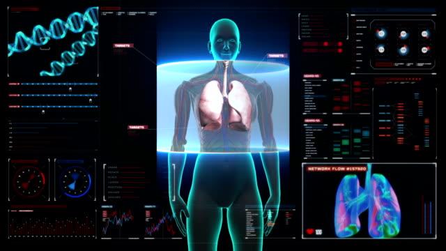 Rotating Human Female  lungs, Pulmonary Diagnostics in digital display dashboard. video