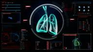 Rotating Human lungs, Pulmonary Diagnostics. X-ray image. video