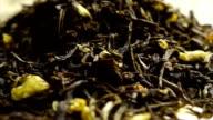 Rotating pile of jasmine green tea video