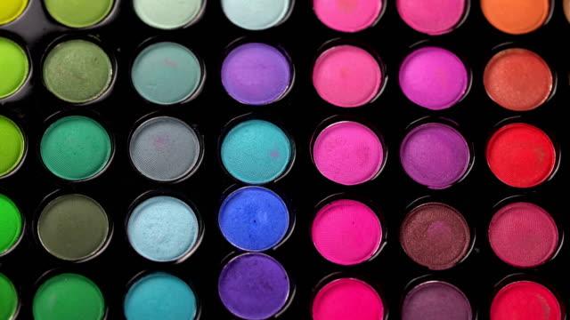Rotating professional makeup eyeshadows palette video