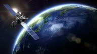 Rotating Realistic Earth with satellite. Close up. Loopable. video