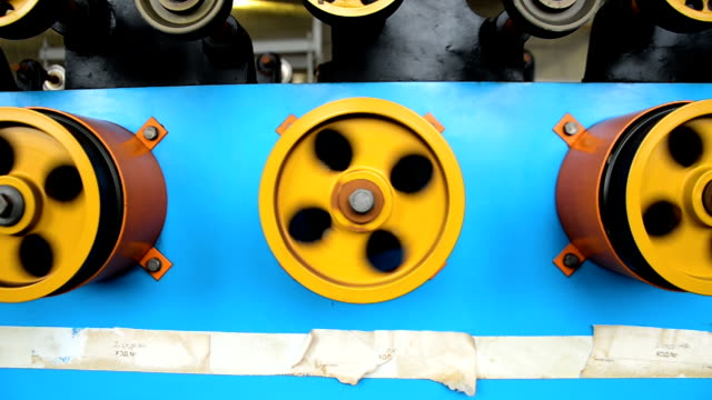 Rotating rubberized wheels of the winding machine video