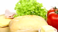 Rotating Sandwich with salad and cheese video
