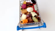 Rotating shopping cart with falling sweets video
