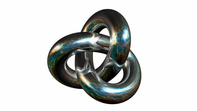 Rotating Silver Gordian Knot Sign isolated on white background. video