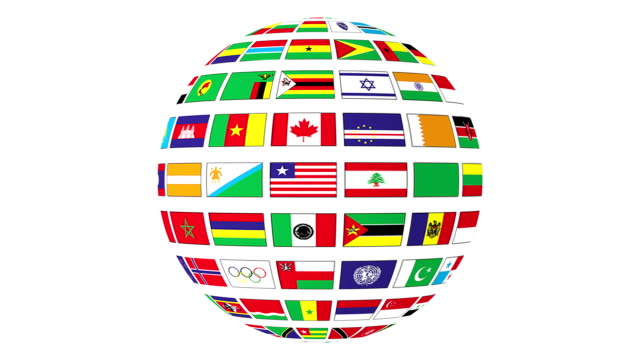 Rotating sphere with world flags isolated on white background video