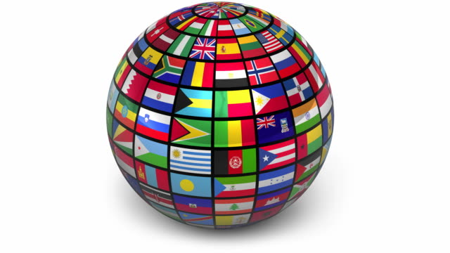 Rotating sphere with world flags (1sec alpha at the end) video