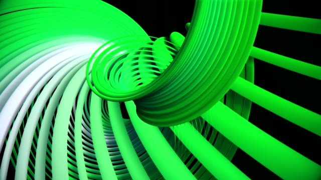 Rotating spirals in green on black video