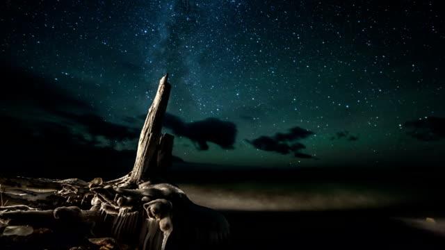 Rotating stars above lakeshore video