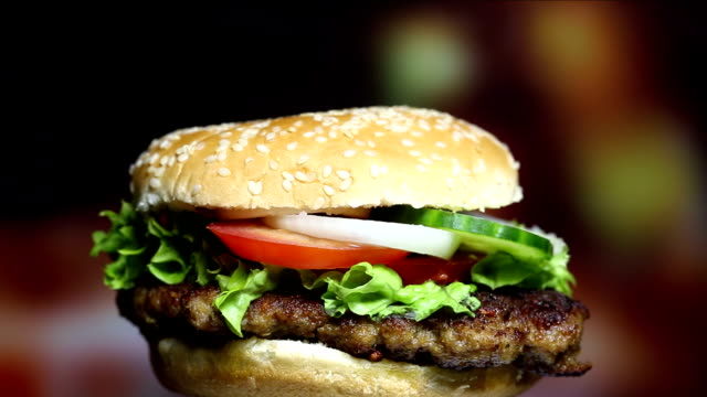 Rotating tasty Hamburger video