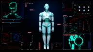Rotating transparency 3D robot body in digital interface. display. video