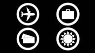 Rotating travel icons video