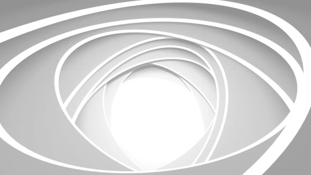 Rotation of white ovals. Abstract background video
