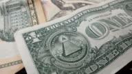 Rotation paper money. US dollars bank notes. video