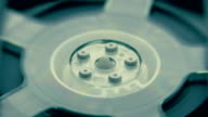 Rotation reel with tape on the video, audio tape recorder / player. Macro video