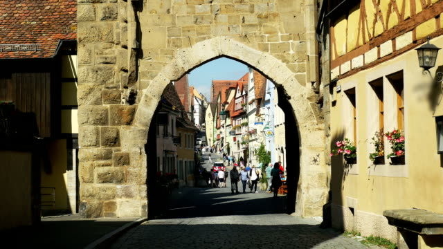 Rothenburg Old Town Viewed From Siebers Gate (4K/UHD to HD) video