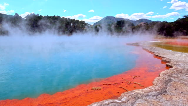 Rotorua, New Zealand - The colorful Champagne pool is a unique hot spring in the thermal Wai O Tapu valley, colours created by arsenic and antimony video
