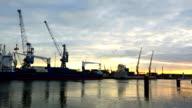 Rotterdam harbor by sunset video