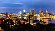 Rotterdam Skyline at night, zoom video