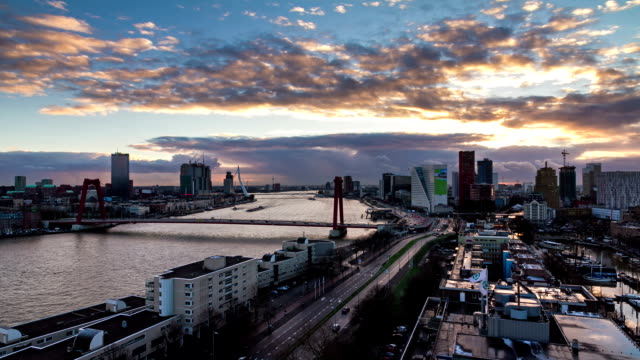 Rotterdam timelapse sunset video