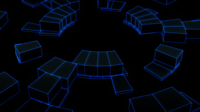 Round concentric shapes rotating loopable 3D animation video